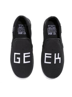 Geek. Out. // Geek Embroidered Black Slip On Shoes