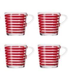 Ikea Red Stripe Mini Espresso Shot Set 4 Glass Cup Mug Coffee Kitchen Godta 3 oz