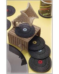 Phonograph Coaster Set. A perfect gift idea for a musician! I'm gonna make the coasters for my husband!