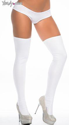 Sexy Metallic Thigh High Stockings, Thigh High Leggings, Extra Long Wet Look Thigh Highs