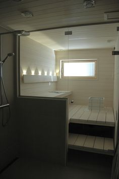 Sauna for my future house Sauna Steam Room, Sauna Room, Bathroom Spa, Laundry In Bathroom, Design Sauna, Modern Saunas, Sauna Hammam, Outdoor Sauna, Finnish Sauna