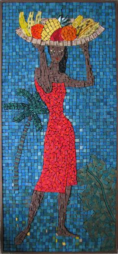 """mid century mosaic panel  """"Woman With Fruit"""" by Jean Clifford, 1958  (from my personal collection)"""