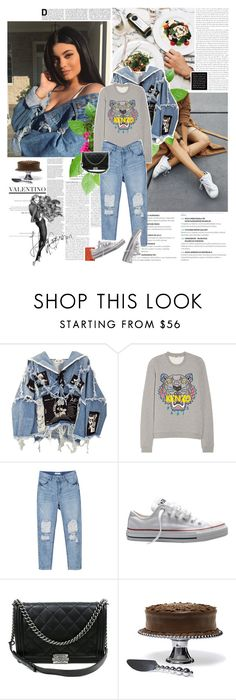 """""""The neon coast was your sign And the Midwest wind with Pisces rising Wouldn't change ya, oh oh Wouldn't ever try to make you leave, no"""" by amnaasif ❤ liked on Polyvore featuring Zara, BLK DNM, Kenzo, Converse and Chanel"""