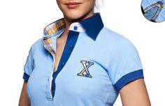 Polo femme manches courtes bleu doublure à carreaux col navy, - Chemise Homme
