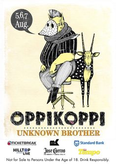 """poster designs for Oppikoppi 2011 titled """"Unknown Brother"""". Festival Posters, Musical, Branding Design, Studio, Sketches, Illustration, Concerts, Festivals, Brother"""