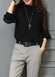 Long Sleeve Solid Black High Neck Blouse on sale only US$24.95 now, buy cheap Long Sleeve Solid Black High Neck Blouse at lulugal.com