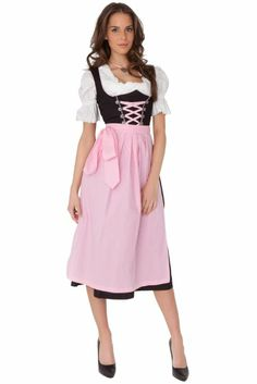 Amazon.com: Dirndl Womens 3-Piece Black Dirndl with Pink Apron: Clothing $99.99
