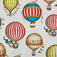 A whimsical design of colorful hot-air balloons. Italian Wrapping Paper