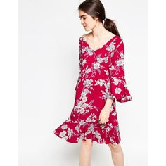 Minimum Era Floral Dress ($62) ❤ liked on Polyvore featuring dresses, red, white dress, white v neck dress, floral flare dress, tall dresses and v neck dress