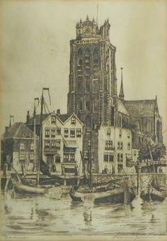 Ets : Grote Kerk en Bomkade Dordrecht, Marius Janssen