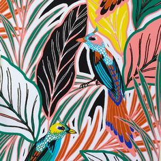 'Birdie' in the jungle upholstery fabric print and pattern tropical leaves Textile Patterns, Textile Prints, Textile Design, Print Patterns, Pattern Vegetal, Illustrations, Illustration Art, Jungle Pattern, Tropical Pattern