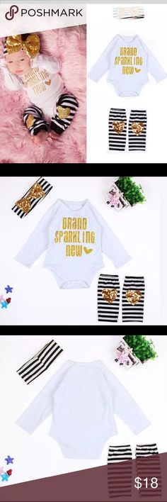 Newborn baby girl outfit bodysuit romper 3-6 month Adorable baby girl outfit 4 pieces in all for baby 3-6 months brand new in package.  Bundle and save.  Buy with confidence I am a top rated seller, mentor, and fast shipper.  Thank you. Matching Sets