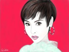 https://flic.kr/p/21BhPtA   Portrait 867 (Matsuda Seiko)   iPad finger painting with brushes 2 app on 3rd iPad