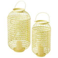 Yellow Lattice Pillar Candle Lanterns (Set of 2)