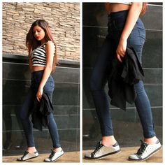 Style for the Dance floor's got a twist to it!  Skip the heels, keep the oomph, enjoy the comfort.  The #perfectpair of jeans, a crop top, a boho neck-piece and Jesse #silversneakers for glamour.  #styleinspiration by Riya Jain for partying like there's no tomorrow.   #blogger @caughtinacuff.