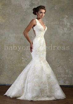 Mermaid Wedding Dresses 2013 From Babyonlinedress V-neck Lace Backless Gowns