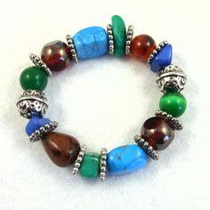 Bracelet, Jade, Obsidian, Howlite, Carnelian and Agate £7.25 by Maxine Veronica hand made one of a kind Jewellery