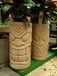 Tiki totem pots. $17.98 at Home Depot.
