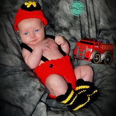 Hand Crocheted Baby Firefighter Set by TerrificCreations on Etsy- do cute!!
