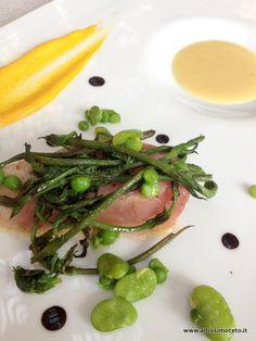 Ricciola, erbe di campo, pane, uovo e aceto di sambuco - Ristorante Agli Amici – Godia (UD)