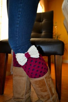 Women,Teen Crochet Boot Cuffs -Boot toppers - Leg warmers with bow In Boysenberry-Off White. $25.00, via Etsy.