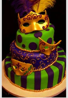 mardi gras cakes OMG! I wanna have a theme party, just once.
