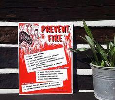 Vintage Sign, Prevent Fire Horse Sign, Equestrian / Equine Horse Farm…