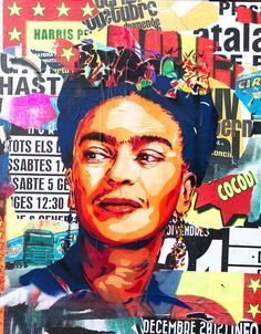 Collage Frida Kahlo - iconic woman from pop culture. Collage Stencil, spraypaint and collage on canvas by BTOY Diego Rivera, Frida E Diego, Frida Art, Art Du Collage, Mixed Media Collage, Self Portrait Art, Street Art, Identity, Power Pop