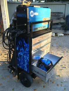 Custom tig welding cart with aluminum drawers and custom graphics