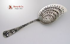 Clam Serving Spoon Repousse Sterling Silver, Gordon & Co 1870