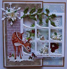 kaart met raam en sneeuw