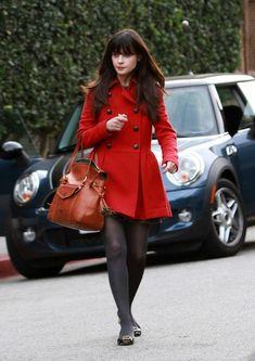 Zooey Deschanel Red Coat outfit
