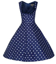 Blue and White Polka Dot Vintage Dress  I want to go shopping!!!