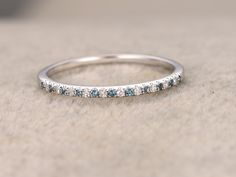 Thin design,Topaz Diamond Wedding Ring,14K White gold,Anniversary Ring,Half Eternity Band,stackable ring,milgrain,Matching band,Micro pave by popRing on Etsy https://www.etsy.com/listing/451822386/thin-designtopaz-diamond-wedding-ring14k