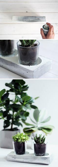 Fall For DIY Chrome and Concrete Planter How to