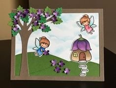 Hello my friends and welcome back. Today I made a Spring themed card using lots of products from Lawn Fawn. I used the Leafy Tree Backdro...