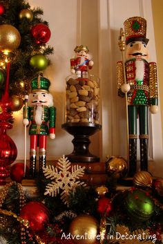 "Adventures in Decorating: this might be a good idea to make my nutcrackers look more ""grounded"" Christmas Time Is Here, Christmas Home, Christmas Holidays, Christmas Crafts, Christmas Mantels, Christmas Morning, Christmas Is Coming, Christmas Ornaments, Christmas Kitchen"