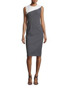 NARCISO RODRIGUEZ Sleeveless Bicolor Sheath Dress, Black/White. #narcisorodriguez #cloth #