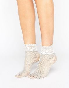 Asos Lace Trim Fishnet Socks In White