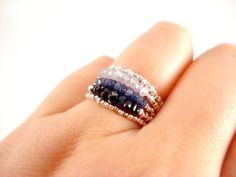 Silver Sapphire Stacking Rings Shaded Black Blue by FiveOfMine, $95.00