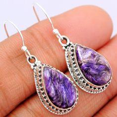 Charoite 925 Sterling Silver Earrings Jewelry CROE132 - JJDesignerJewelry