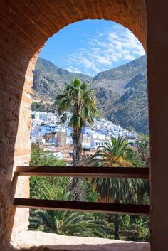 City of Chefchaouen with mountains, Morocco. Most Beautiful Cities, Wonderful Places, Beautiful World, Morocco Chefchaouen, Morocco Travel, Moorish, North Africa, Marrakech, Travel Posters