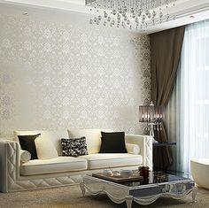 living damask tamu ruang kamar dinding elegant motif gambar rooms lounge grey untuk minimalis tidur chic wallpapertip rilane artistik dan