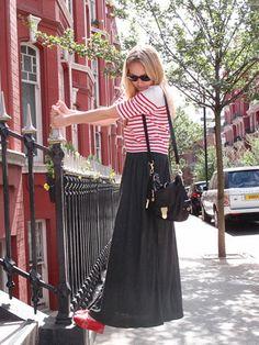grey maxi skirt, red stripes