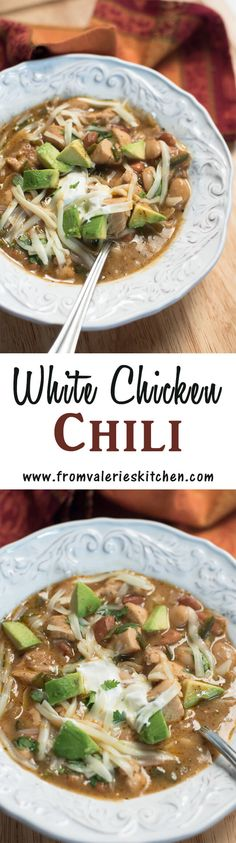 A delicious blend of chicken, spices, beans, and peppers come together to make this hearty chili. ~ http://www.fromvalerieskitchen.com