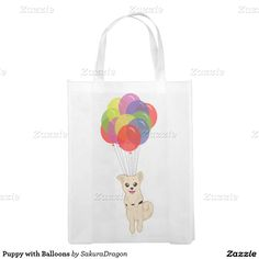 Puppy with Balloons Reusable Grocery Bags #dogs #puppy #party #balloons #birthday