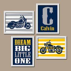 MOTORCYCLE Wall Art CANVAS or Prints Boy Nursery Art par TRMdesign