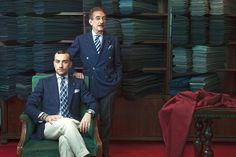 "Massimiliano, left, and Carlo Andreacchio - trombone ""A Cut Above: The Best Bespoke Tailors in Milan"", WSJ"