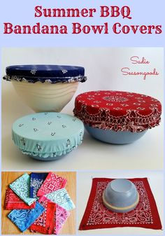 Diy Sewing Projects Add patriotic panache to your next summer BBQ or of July picnic with these vintage bandana bowl covers! Easy, low-sew upcycle project that makes reusable / washable bowl covers that are cute AND functional! Easy Sewing Projects, Sewing Projects For Beginners, Sewing Hacks, Sewing Tutorials, Sewing Crafts, Craft Projects, Sewing Tips, Learn Sewing, Sewing Ideas