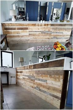 Reshape the humdrum impression of your kitchen and craft this appealing reused wood pallet kitchen idea introduced in the image below. This awesome pallet crafting for the completion of this kitchen furniture looks heart-touching at the first sight.